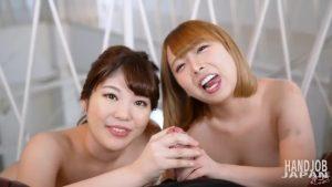 早川夏美ちゃんとりおちゃんのダブル手コキ、Handjob Japanの無修正動画