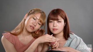 天音とゆうの2人による手コキ!Handjob Japanの無修正エロ動画